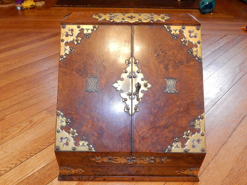 Victorian Brass-Mounted Burl Walnut Traveling Desk, English, late 19th century