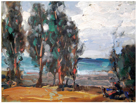 Hanson Duvall Puthuff (American, 1875-1972), California Landscape with Ocean Beyond, oil on canvas board, ca. 1970