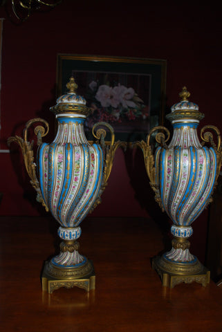 Pair of Ormolu Mounted Sevres Style Porcelain Urns, ca. 1900