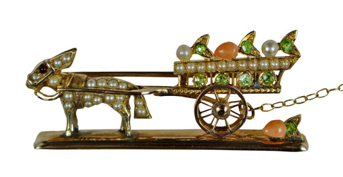Antique 14K Gold & Gemstone Mule Pulling Cart Brooch