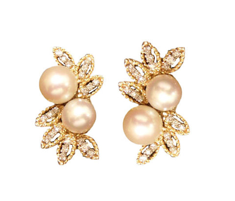 Pair of 18K Yellow Gold, Large Pearl and Diamond Earrings