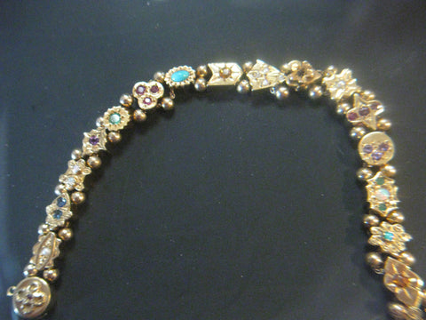 14K Gold Slide Bracelet with 17 jeweled slides, ca. 1970s