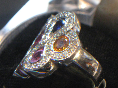 18K White Gold, Multi-Color Sapphire and Diamond Ring, ca. 2000