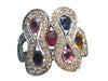 18K White Gold, Multi-Color Sapphire & Diamond Ring