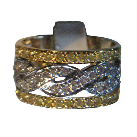 18K Gold White and Yellow Diamond Wide Ring/Band