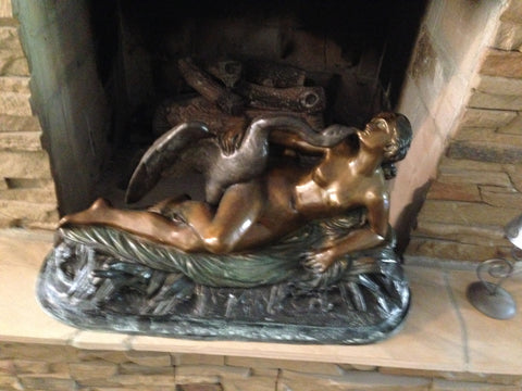 After Jean-Baptiste ClŽésinger (French, 1814-1883), Leda and the Swan, a patinated bronze figural group