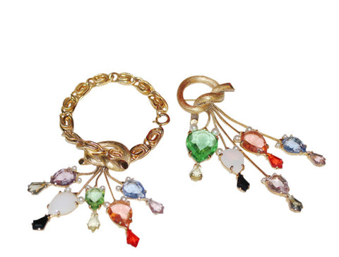 Bracelet and Pin Demi Parure with Jeweled Tassel Drops, designed by Elsa Schiaparelli, ca.1950, signed