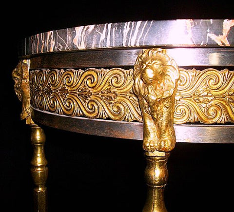 Italian Art Deco Brass and Marble Mirrored Console, ca. 1930s