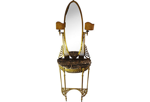 Italian Art Deco Brass and Marble Mirrored Console