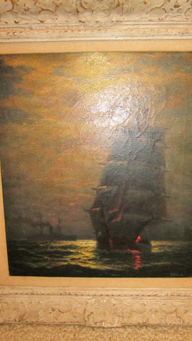 James Gale Tyler (American, 1855-1931), Sailing into the Night, oil on canvas, signed, ca. 20th century
