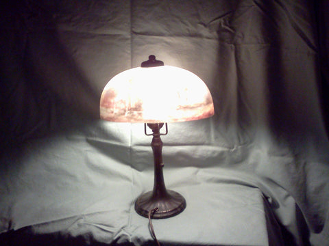 American Reverse Painted Glass and Bronze Table Lamp, Handel & Co., Meriden, CT, ca. 1910-15