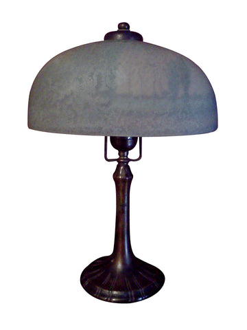 American Reverse Painted Glass and Bronze Table Lamp