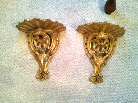 English Chippendale Style Giltwood Mirror and a Pair of Continental Gilt Sconces, 19th century