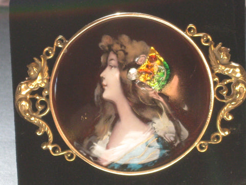 18K Gold and Enamel Miniature Portrait Brooch/Pendant, late 19th century