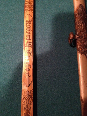 Masonic Fraternal Order Ceremonial Sword with Scabbard, late 19th to early 20th century, named on blade