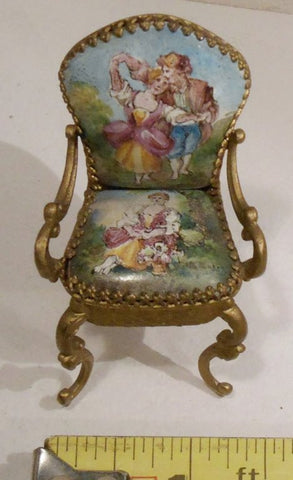 Austrian Gilt Metal and Enamel Miniature Furniture, late 19th/early 20th century, in Louis XV Style, with case