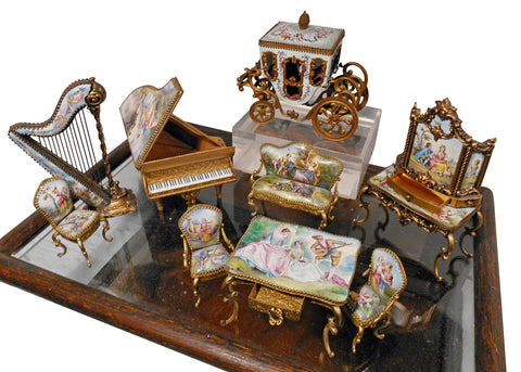 Austrian Gilt Metal and Enamel Miniature Furniture