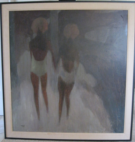 William Lee Cumming (American, 1917-2010), Two Women Walking, oil on masonite, signed and dated 1964