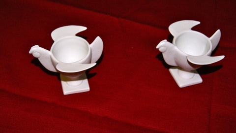 François Xavier Lalanne (French 1927-2008), Two Porcelain 'Coquetier Oiseau' Egg Cups, signed