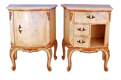 A Pair of  Louis XV Style Painted and Gilt Wood Night Tables
