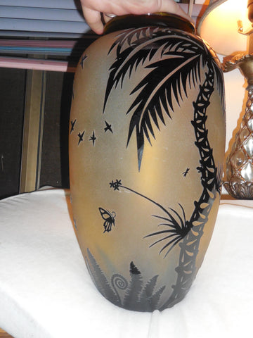 Duncan McClellan (American, b. 1967), Hand-cut and Acid Etched Glass Vase, signed