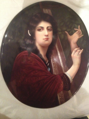 "KPM Painted Porcelain Oval Portrait Plaque, painted by Gertrude Coals, Berlin, ""The Harp of Tara"", late 19th century, signed"