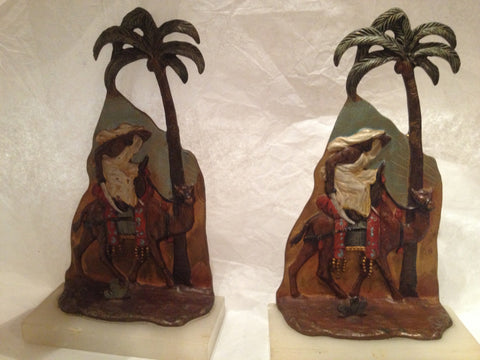 Pair of Austrian Cold Painted Bronze Bookends, early 20th century