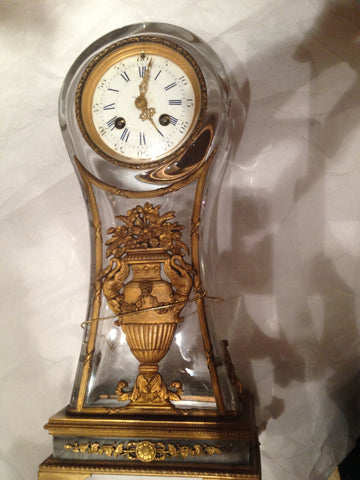 French Gilt Bronze and Glass Mantel Clock, 19th Century