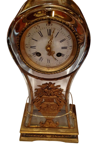 French Gilt Bronze and Glass Mantel Clock