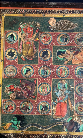 Indian Folk Painting of an Auspicious Swastika with Deities, 19th century