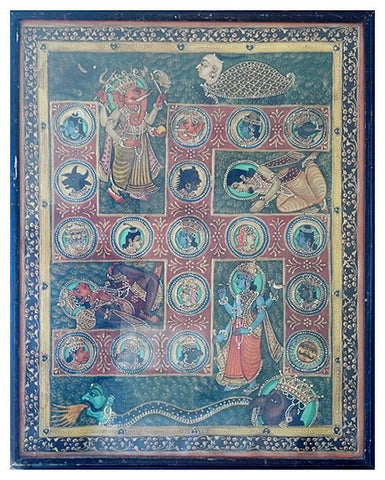 Indian Folk Painting of an Auspicious Swastika with Deities