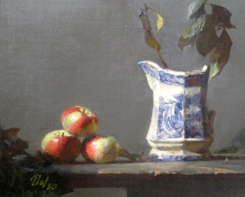 David A. Leffel (American, b. 1931), Still Life with Apples and Small Chinese Pitcher, oil on board, signed, dated 1980