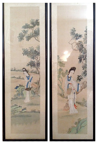 Two Chinese Scroll Paintings of Court Maidens