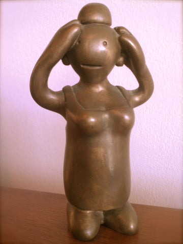 Tom Otterness (American, b. 1952), Female Figure with Arms Raised, patinated bronze sculpture, ca. 1990