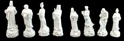 Eight Chinese Blanc de Chine Porcelain Immortals