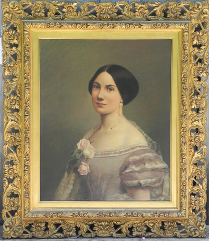 American School, 19th century, Portrait of a Woman in White with Roses, oil on canvas, unsigned
