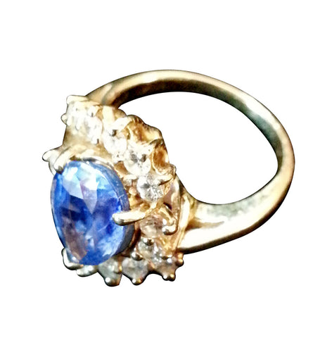 14k Yellow Gold, Natural Sapphire and Diamond Ring, 20th century