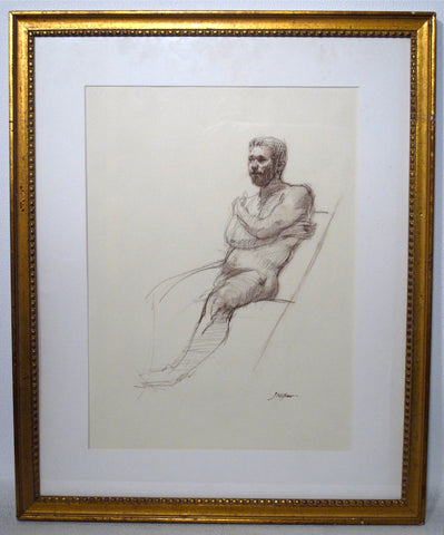 Sherrie McGraw (American, b. 1954), Male Nude, conte crayon on paper, signed