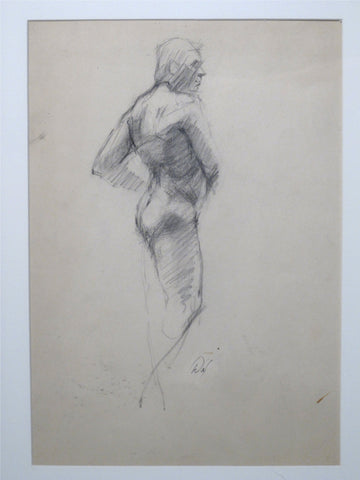 David A. Leffel (American, b. 1931), Male Nude, graphite/charcoal on paper, signed, 20th century