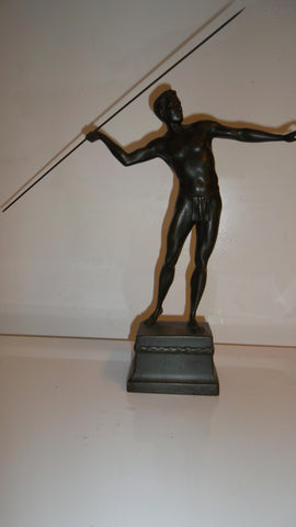 Richard Thuss (Austrian, 1865-1945),  Patinated Bronze Figure of a Javelin Thrower, Argentor Foundry, Vienna, ca. 1920