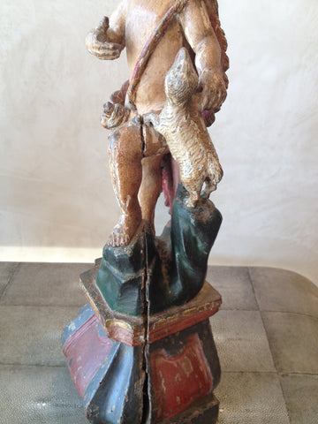 Portuguese Figure of Infant John the Baptist, carved and polychromed wood, 18th century