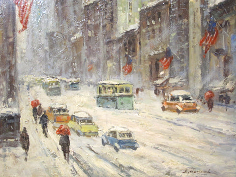 Albert Munghard (American, 1919-1998), New York Winter Cityscape, oil on board, signed