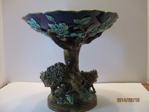 "George Jones Majolica Figural Compote, English, 19th century, ""America"" from the Continental Series"