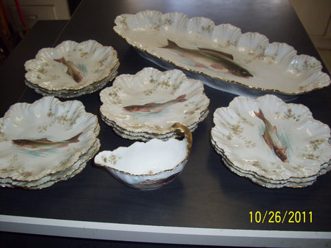French Painted Porcelain Fish Set, Limoges, early 20th century