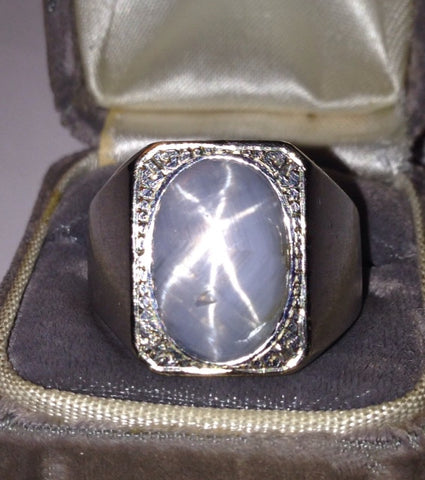 Men's 14K White Gold and Star Sapphire Ring, ca. 1960s