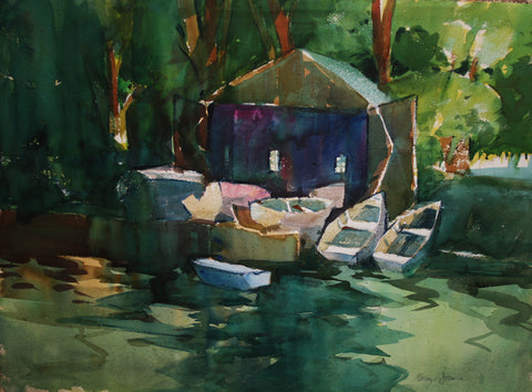 George R. James (American, b.1932), Dock House, watercolor on paper, signed, ca. 1970s
