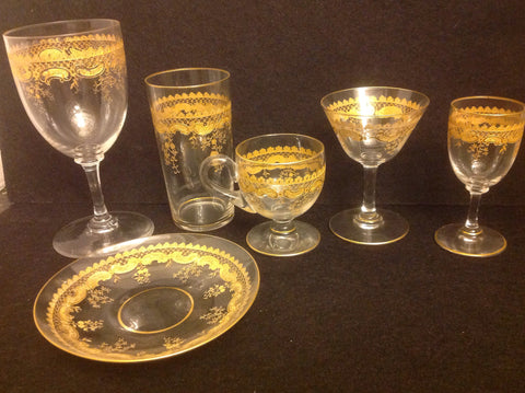Set of French Gilt and Clear Glass Stemware, St. Louis, ca. 1900