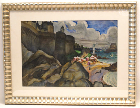 Edith Varian Cockcroft (American, 1881-1962), Architectural Landscape and Beach Scene, two watercolor, signed and dated 1923