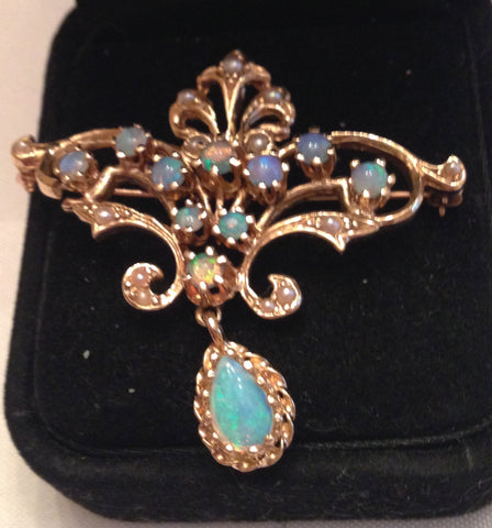 14K Gold, Opal and Seed Pearl Pendant Brooch, ca. 1960s