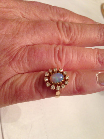 14K Gold, Opal and Diamond Ring, 20th Century